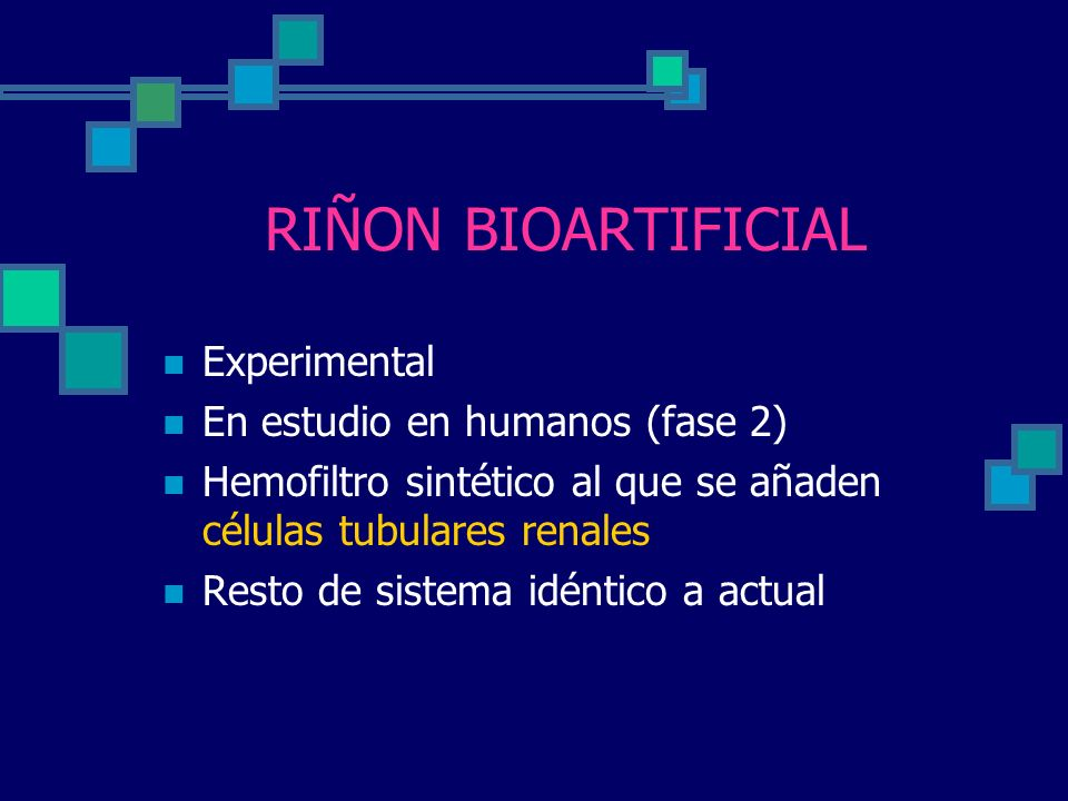 RIÑON BIOARTIFICIAL Experimental En estudio en humanos (fase 2)