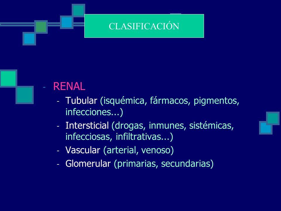 CLASIFICACIÓN RENAL. Tubular (isquémica, fármacos, pigmentos, infecciones...)