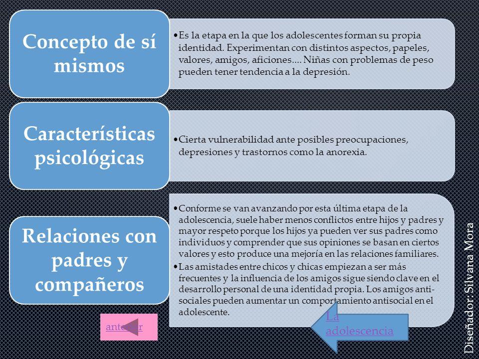 Características psicológicas Relaciones con padres y compañeros