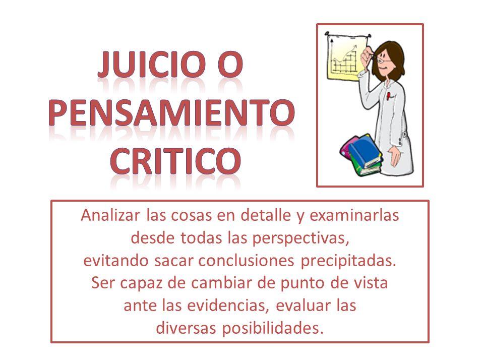 JUICIO O PENSAMIENTO CRITICO
