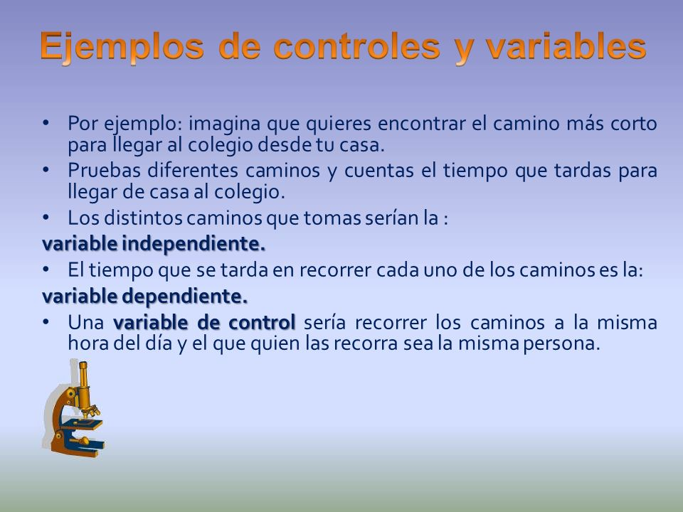 Ejemplos de controles y variables