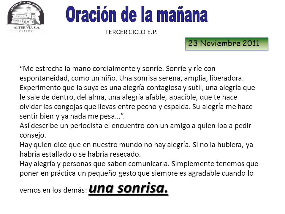 Oración de la mañana 23 Noviembre 2011