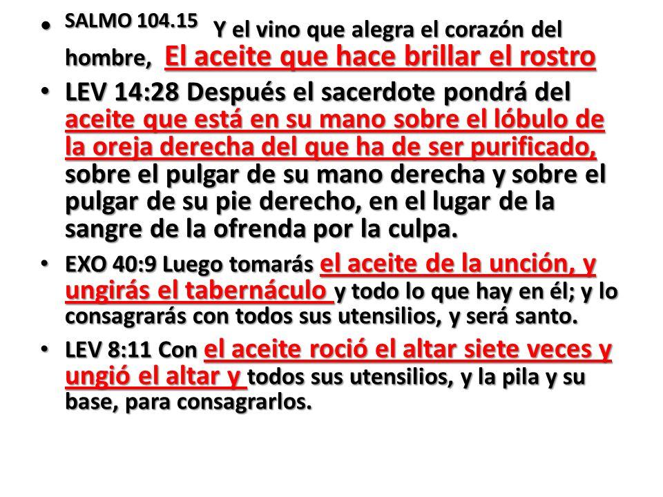 SALMO 104.15 Y el vino que alegra el corazón del hombre, El aceite que hace brillar el rostro