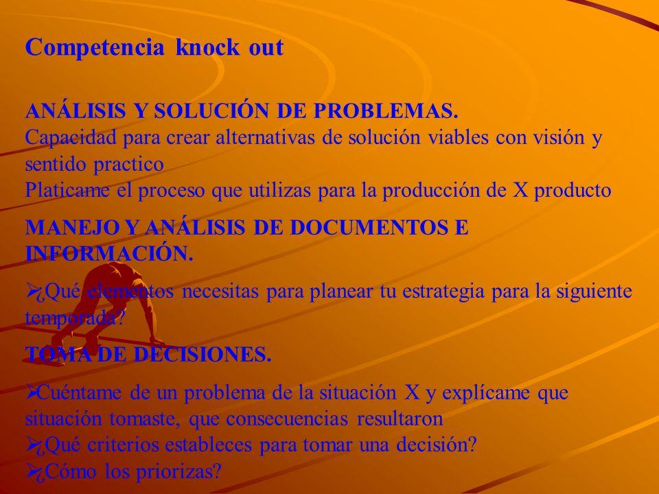 Competencia knock out ANÁLISIS Y SOLUCIÓN DE PROBLEMAS.