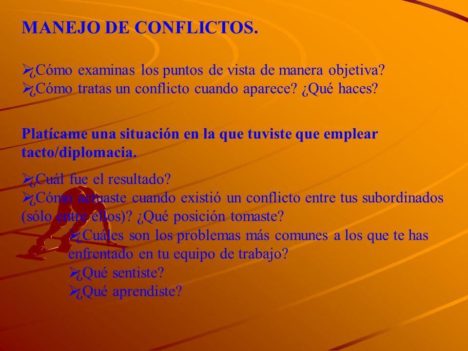 MANEJO DE CONFLICTOS. ¿Cómo examinas los puntos de vista de manera objetiva ¿Cómo tratas un conflicto cuando aparece ¿Qué haces