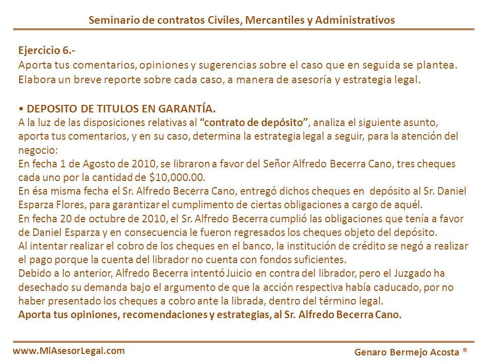 Seminario de contratos Civiles, Mercantiles y Administrativos