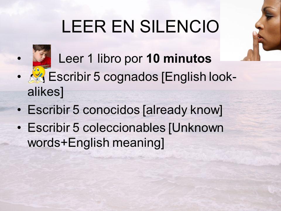 LEER EN SILENCIO Leer 1 libro por 10 minutos