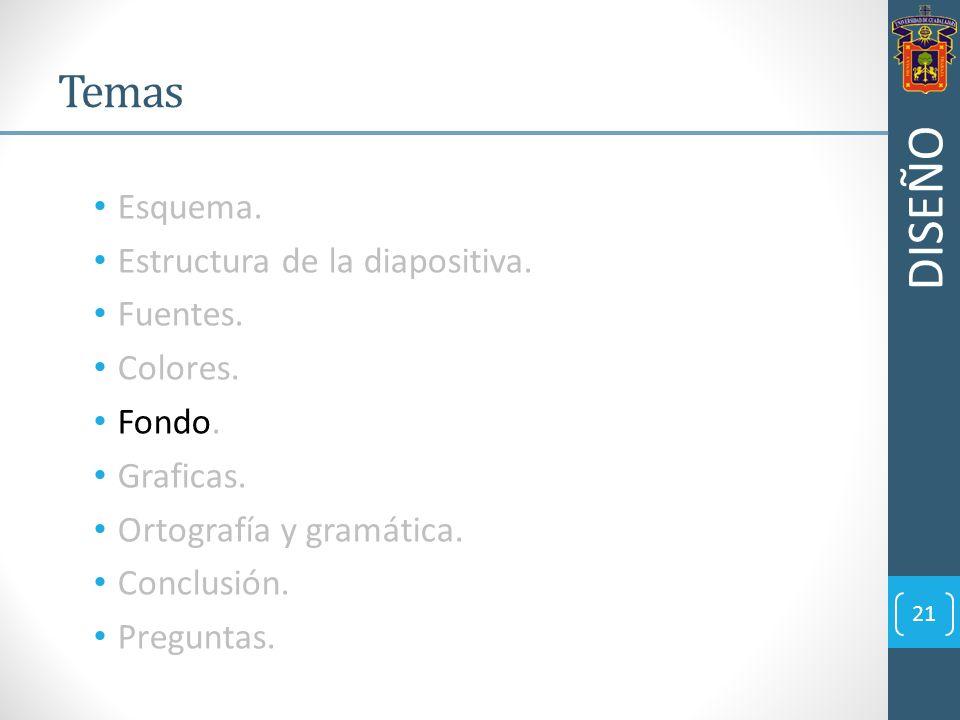 DISEÑO Temas Esquema. Estructura de la diapositiva. Fuentes. Colores.