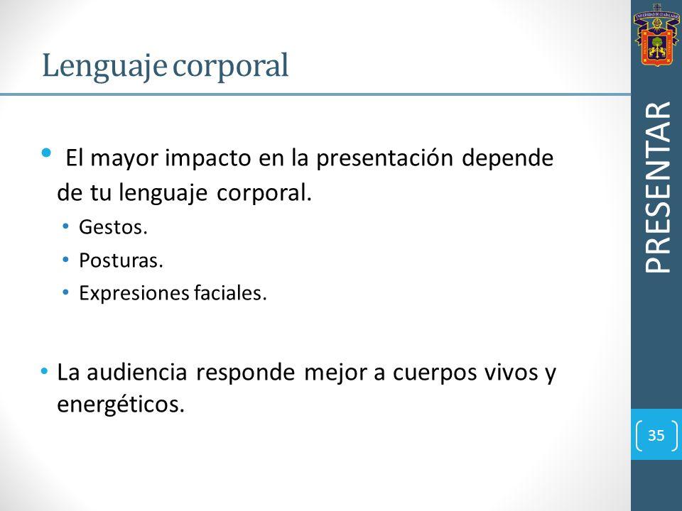 El mayor impacto en la presentación depende de tu lenguaje corporal.