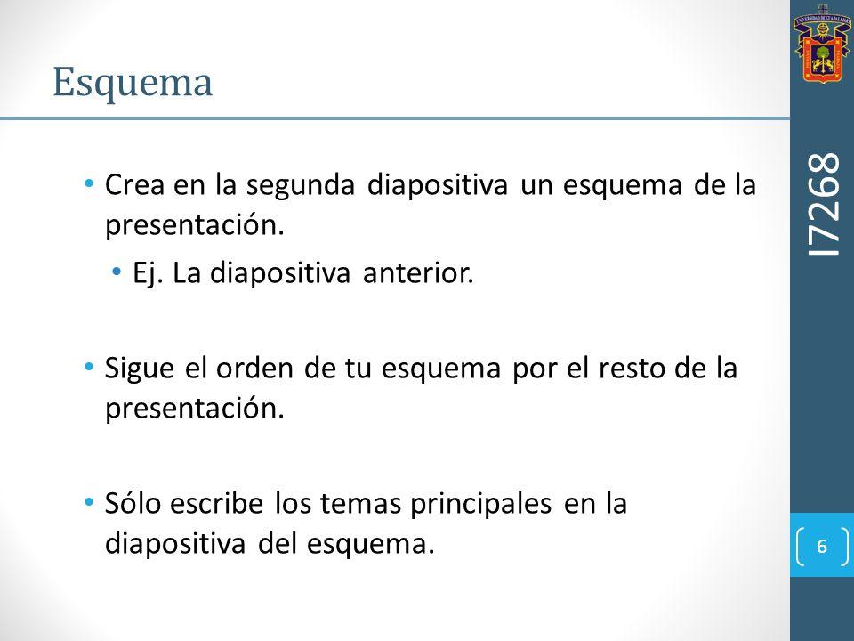 EsquemaI7268. Crea en la segunda diapositiva un esquema de la presentación. Ej. La diapositiva anterior.