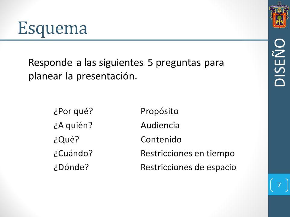 Esquema DISEÑO. Responde a las siguientes 5 preguntas para planear la presentación. ¿Por qué Propósito.
