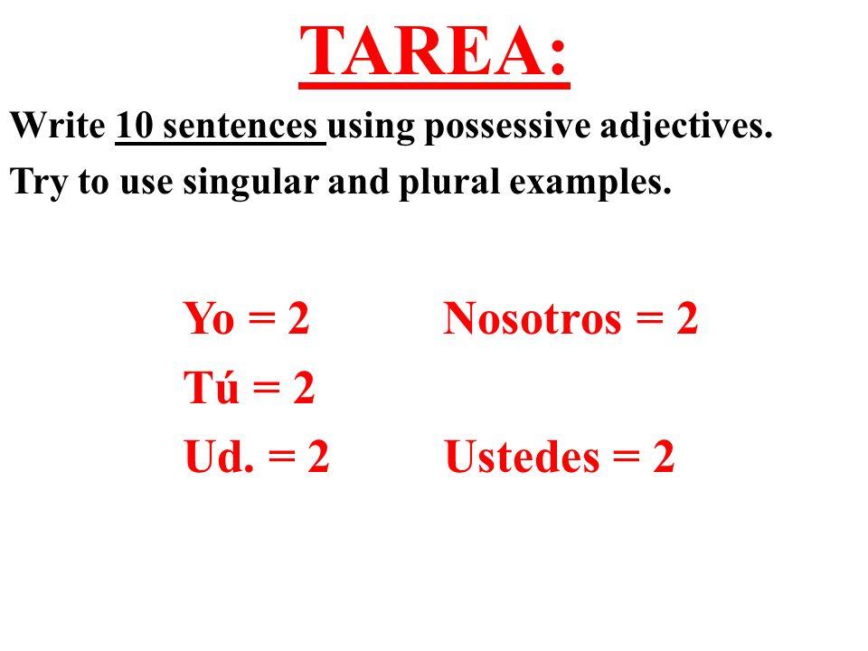 TAREA: Yo = 2 Nosotros = 2 Tú = 2 Ud. = 2 Ustedes = 2