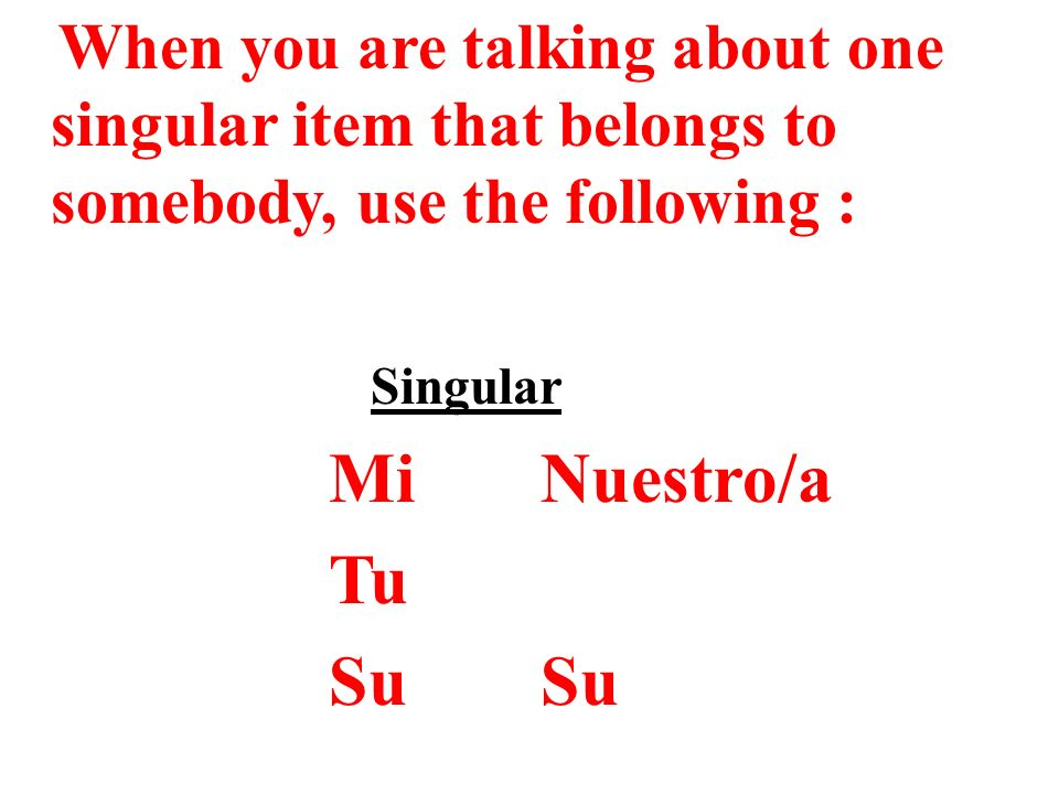 When you are talking about one singular item that belongs to somebody, use the following :
