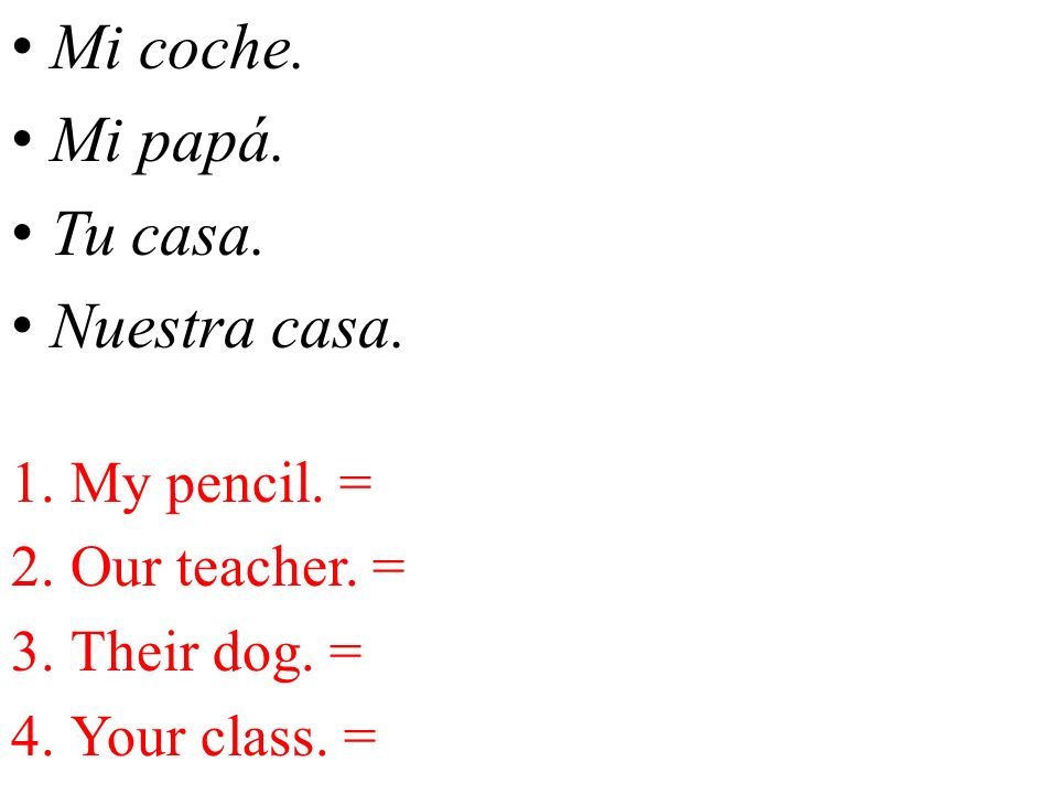 Mi coche. Mi papá. Tu casa. Nuestra casa. My pencil. = Our teacher. =