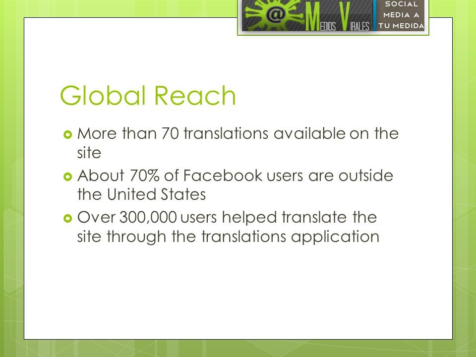 Global Reach More than 70 translations available on the site