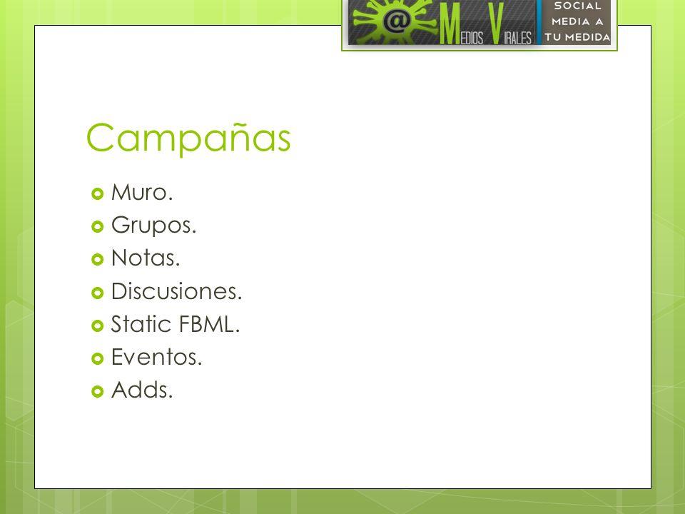 Campañas Muro. Grupos. Notas. Discusiones. Static FBML. Eventos. Adds.