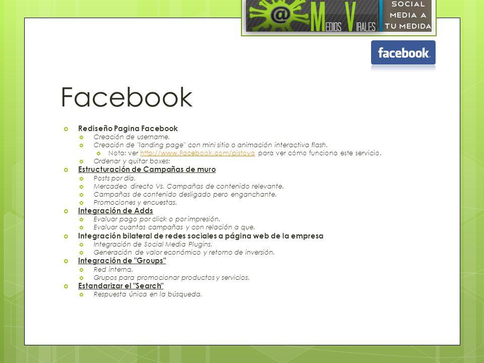 Facebook Rediseño Pagina Facebook Estructuración de Campañas de muro