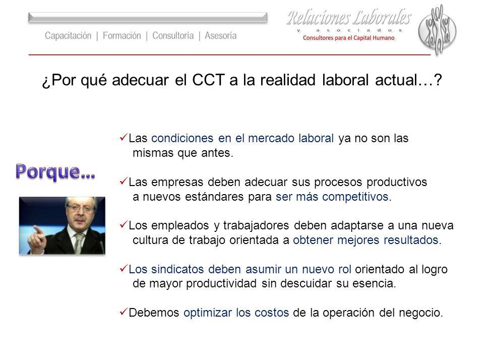 ¿Por qué adecuar el CCT a la realidad laboral actual…