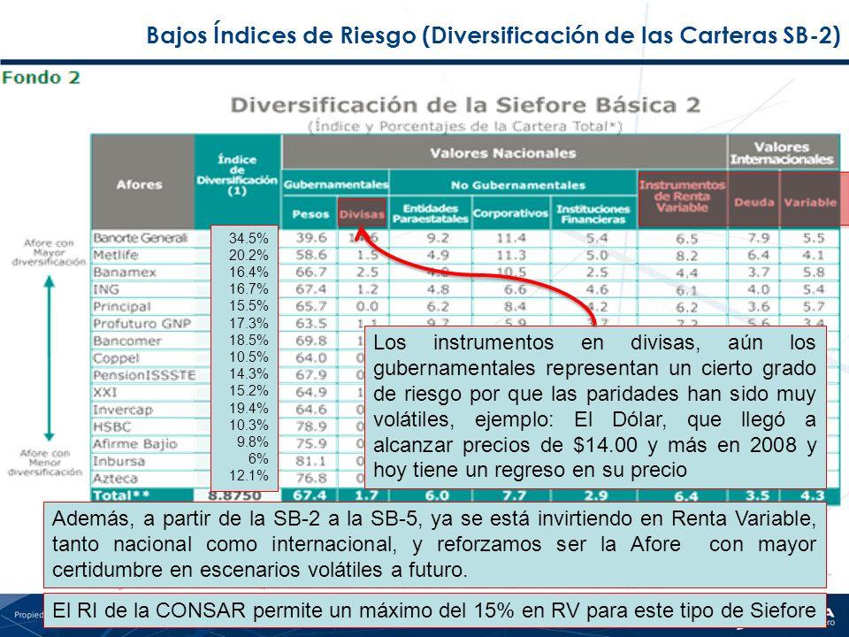 Bajos Índices de Riesgo (Diversificación de las Carteras SB-2)