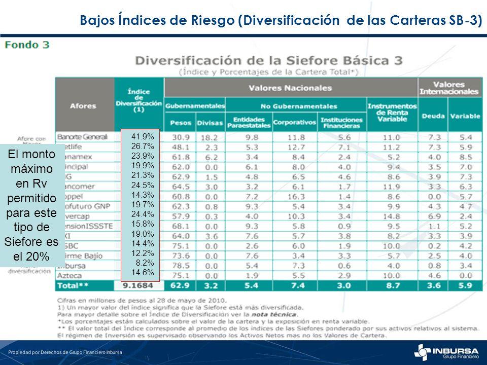 Bajos Índices de Riesgo (Diversificación de las Carteras SB-3)
