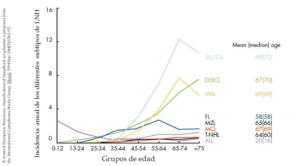 Incidencia anual de los diferentes subtipos de LNH