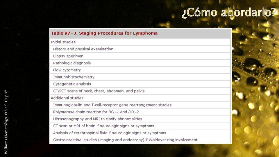 ¿Cómo abordarlo Williams Hematology. 8th ed. Cap 97