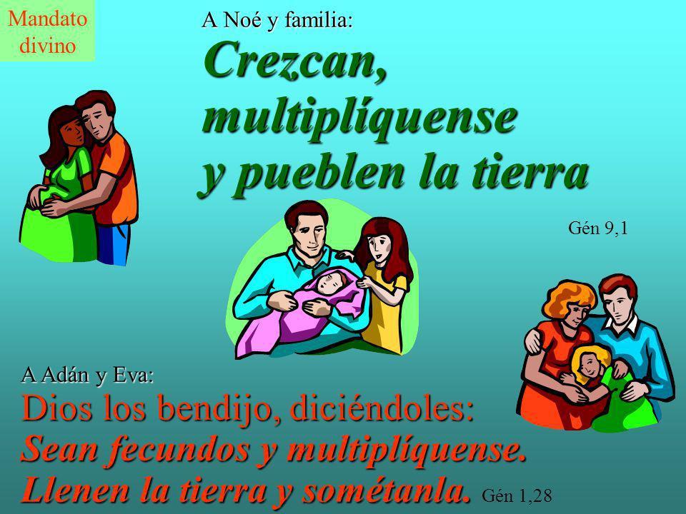 A Noé y familia: Crezcan, multiplíquense y pueblen la tierra Gén 9,1