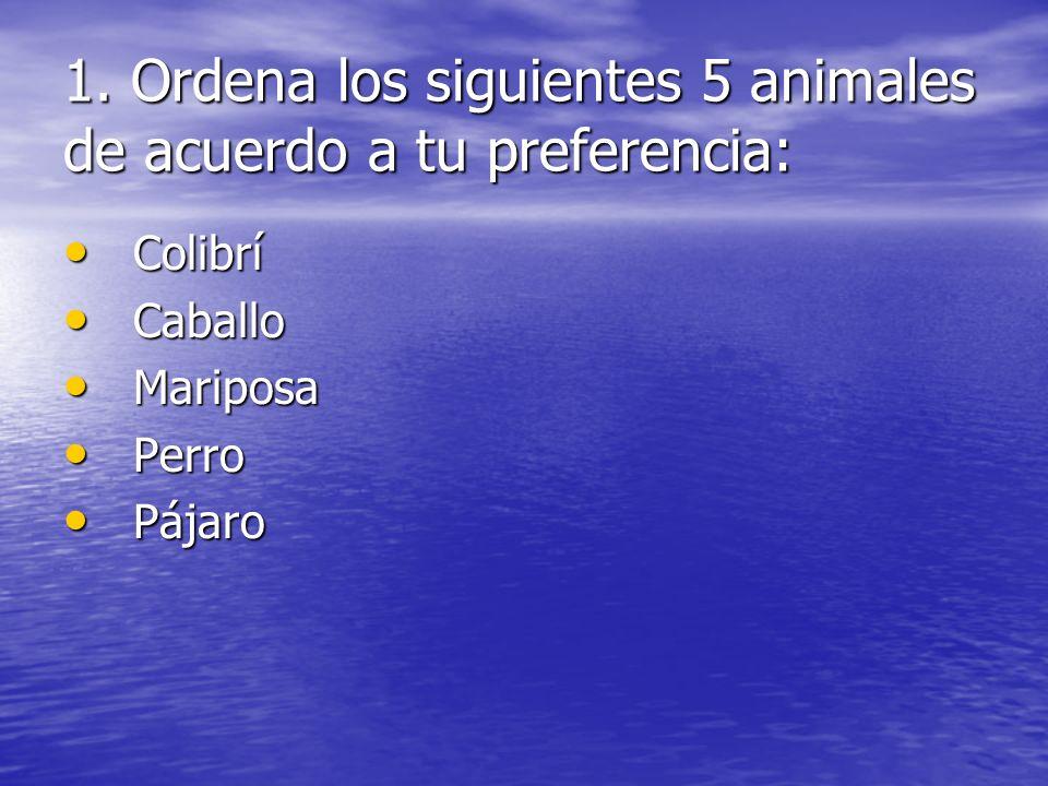 1. Ordena los siguientes 5 animales de acuerdo a tu preferencia: