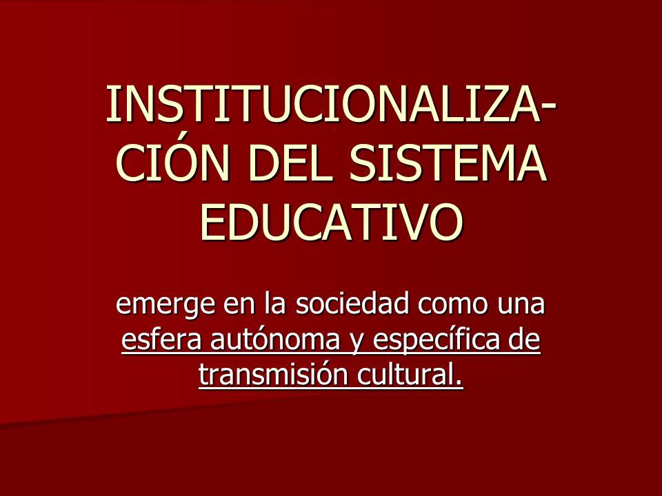 INSTITUCIONALIZA-CIÓN DEL SISTEMA EDUCATIVO