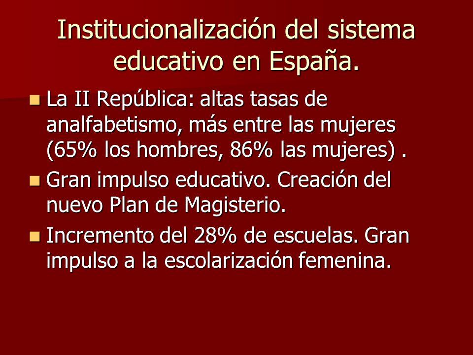 Institucionalización del sistema educativo en España.