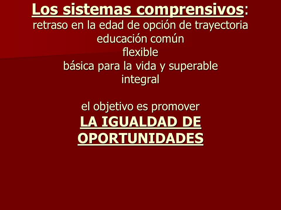 Los sistemas comprensivos: retraso en la edad de opción de trayectoria educación común flexible básica para la vida y superable integral el objetivo es promover LA IGUALDAD DE OPORTUNIDADES
