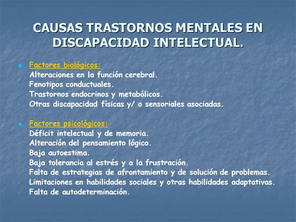 CAUSAS TRASTORNOS MENTALES EN DISCAPACIDAD INTELECTUAL.