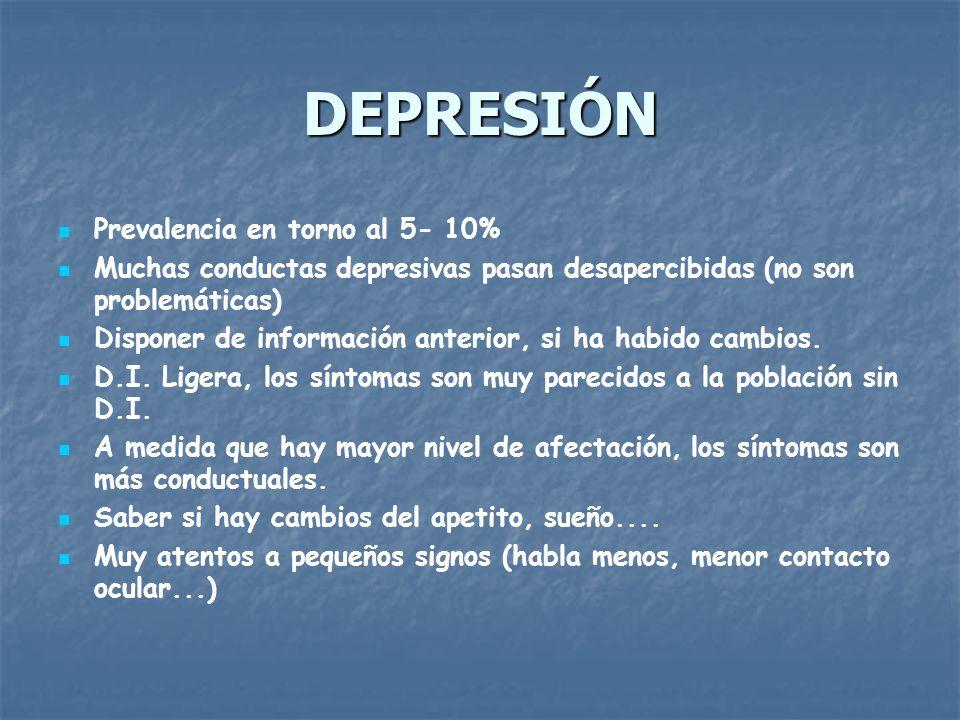 DEPRESIÓN Prevalencia en torno al 5- 10%