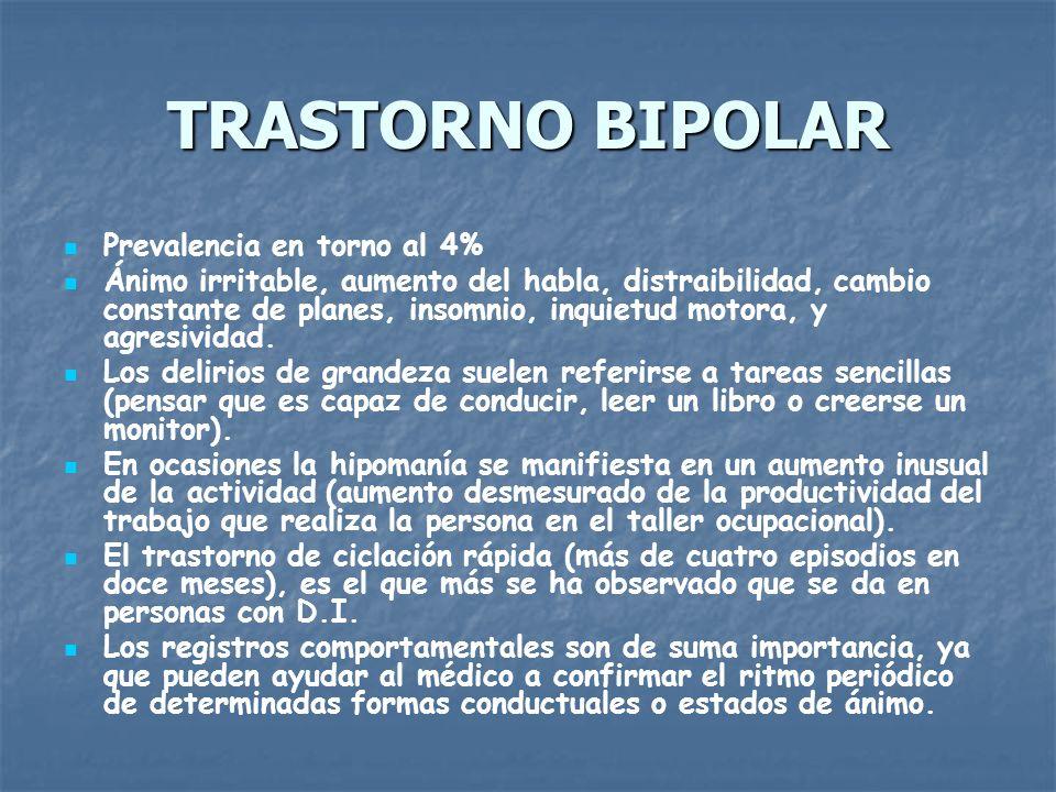 TRASTORNO BIPOLAR Prevalencia en torno al 4%