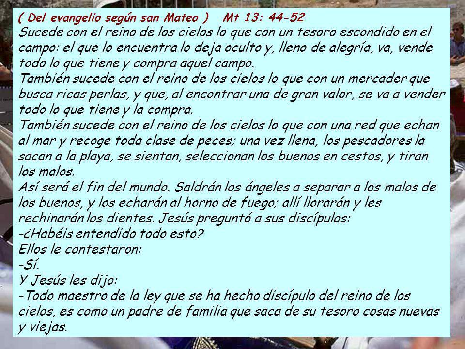 ( Del evangelio según san Mateo ) Mt 13: 44-52