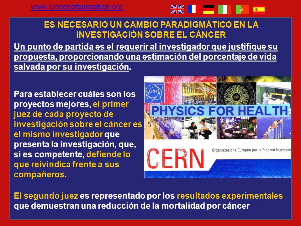 www.crosettofoundation.org ES NECESARIO UN CAMBIO PARADIGMÁTICO EN LA INVESTIGACIÓN SOBRE EL CÁNCER.