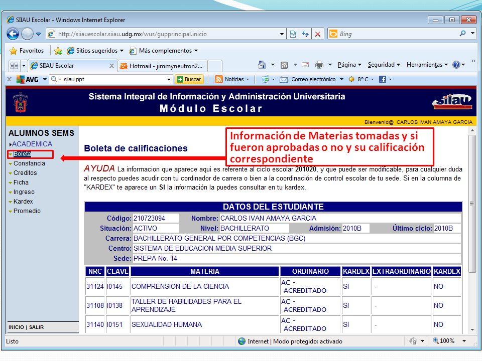Información de Materias tomadas y si fueron aprobadas o no y su calificación correspondiente
