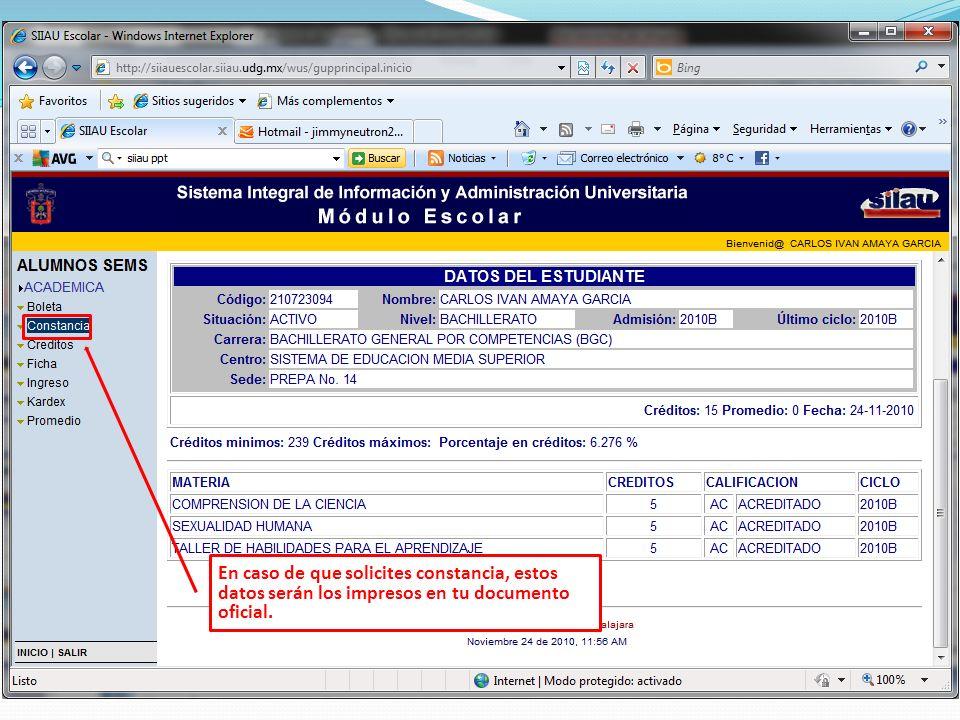 En caso de que solicites constancia, estos datos serán los impresos en tu documento oficial.