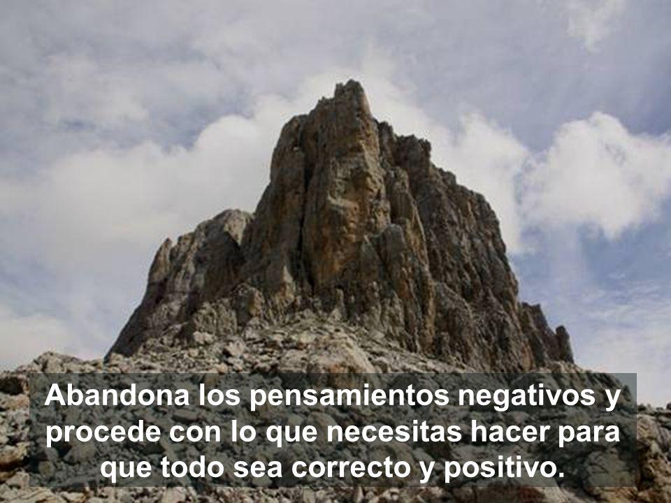 Abandona los pensamientos negativos y procede con lo que necesitas hacer para que todo sea correcto y positivo.