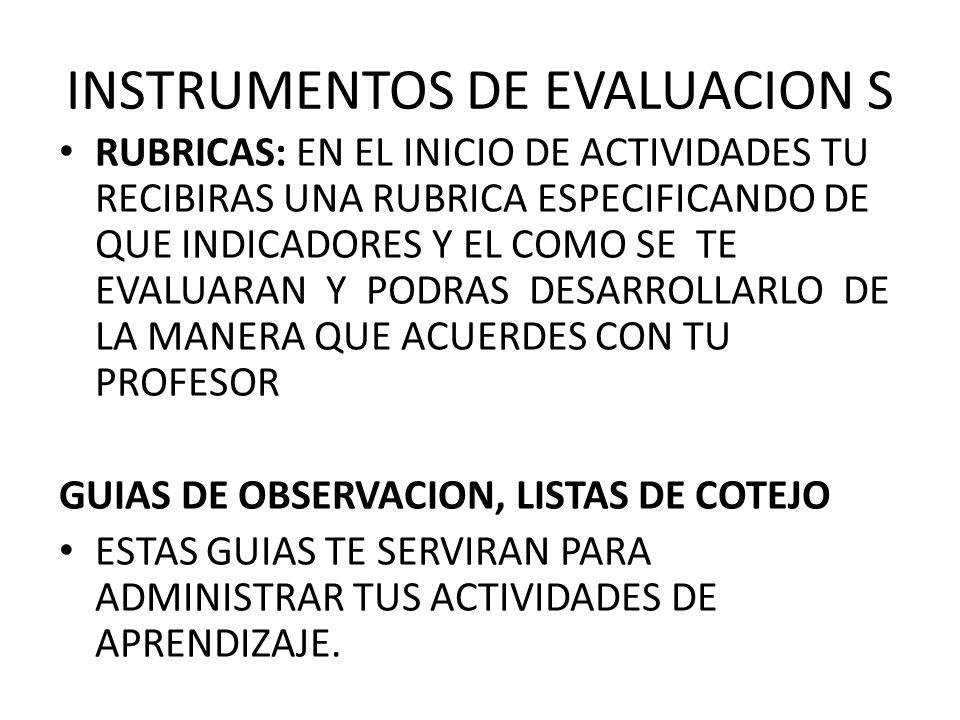 INSTRUMENTOS DE EVALUACION S