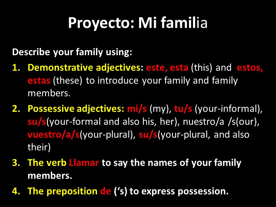 Proyecto: Mi familia Describe your family using: