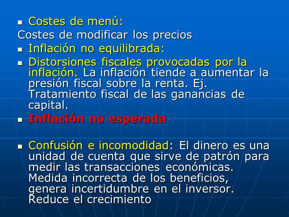 Costes de menú: Costes de modificar los precios. Inflación no equilibrada: