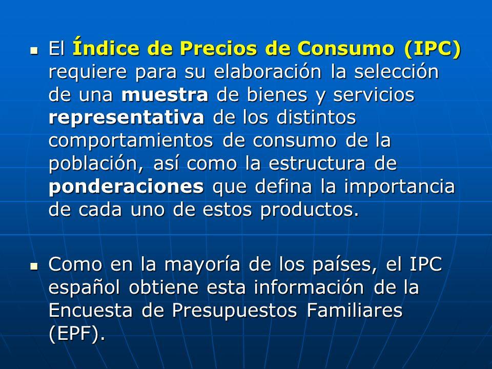 El Índice de Precios de Consumo (IPC) requiere para su elaboración la selección de una muestra de bienes y servicios representativa de los distintos comportamientos de consumo de la población, así como la estructura de ponderaciones que defina la importancia de cada uno de estos productos.