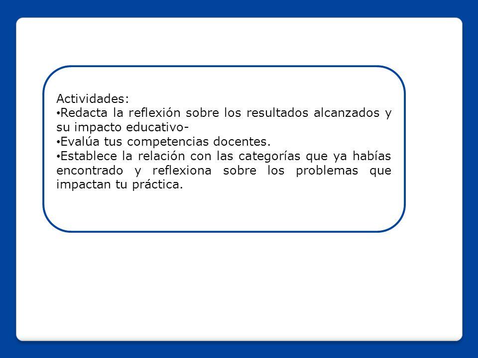 Actividades: Redacta la reflexión sobre los resultados alcanzados y su impacto educativo- Evalúa tus competencias docentes.