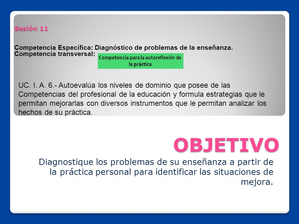 Sesión 11 Competencia Específica: Diagnóstico de problemas de la enseñanza. Competencia transversal: