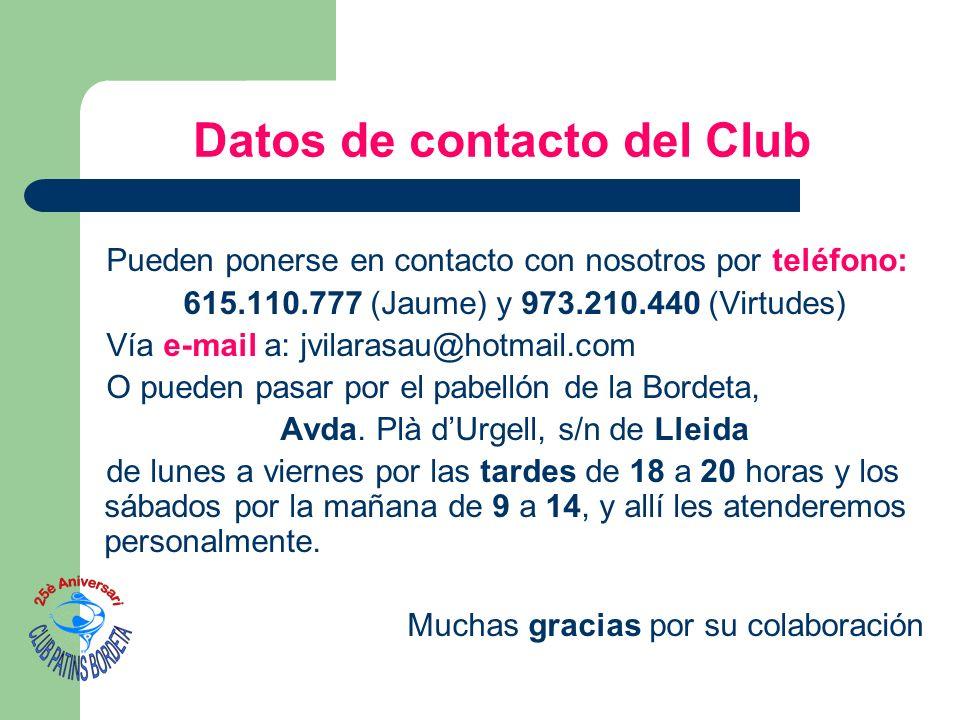 Datos de contacto del Club