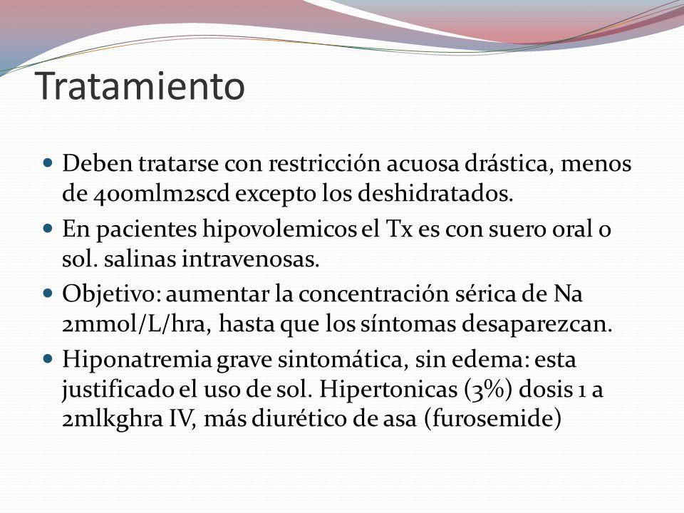 Tratamiento Deben tratarse con restricción acuosa drástica, menos de 400mlm2scd excepto los deshidratados.