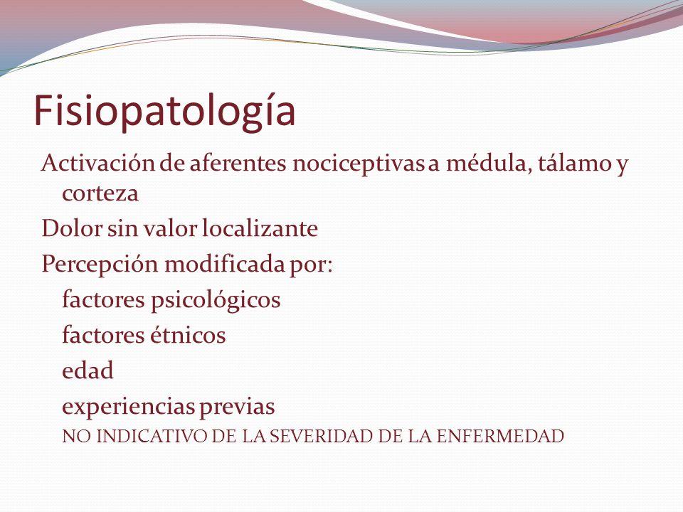 Fisiopatología Activación de aferentes nociceptivas a médula, tálamo y corteza. Dolor sin valor localizante.