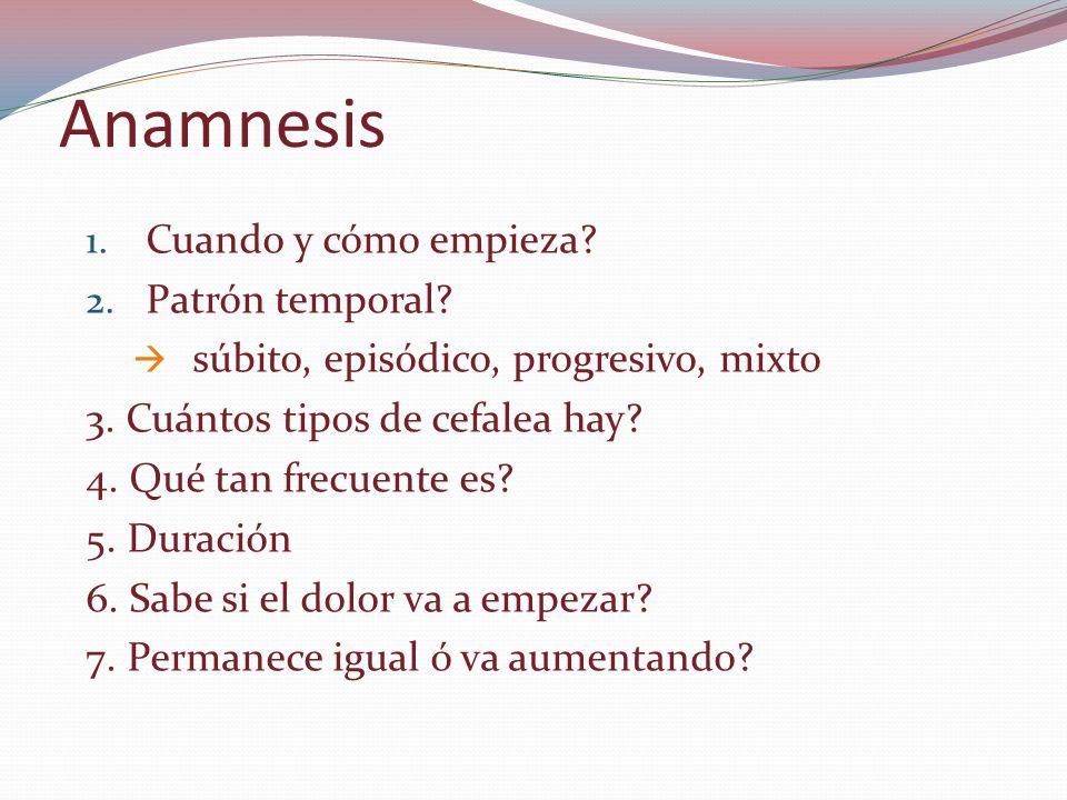 Anamnesis Cuando y cómo empieza Patrón temporal