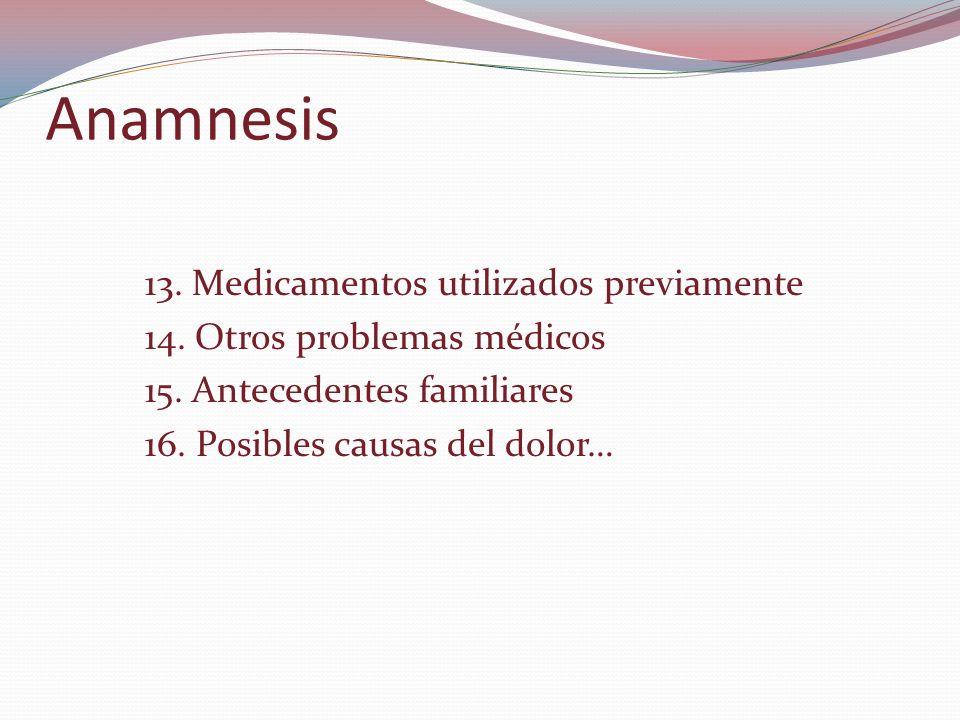 Anamnesis 13. Medicamentos utilizados previamente 14.